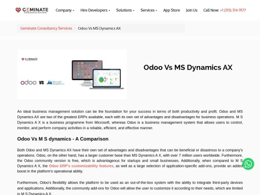 Odoo Vs MS Dynamics AX Geminate Consultancy Services