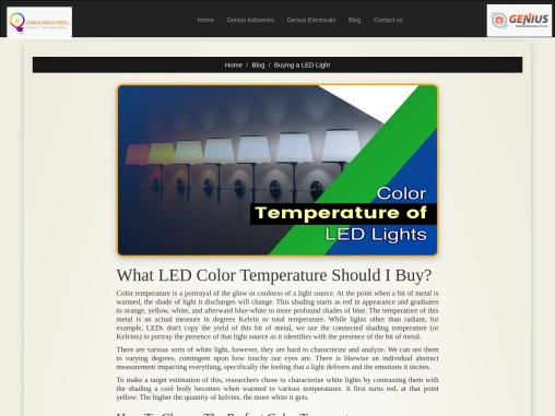 Colour Temp of LED Lights in India