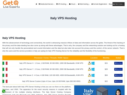 Buy Managed Italy VPS Hosting plans