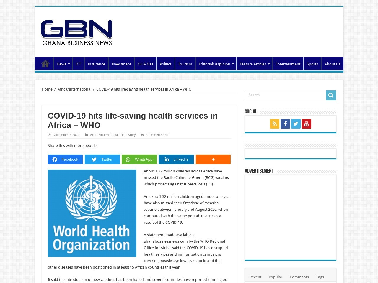 COVID-19 hits life-saving health services in Africa - WHO - Ghana Business News