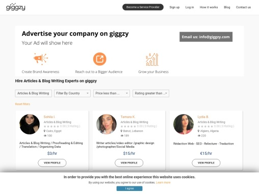 Hire Articles Writing Experts on Giggzy