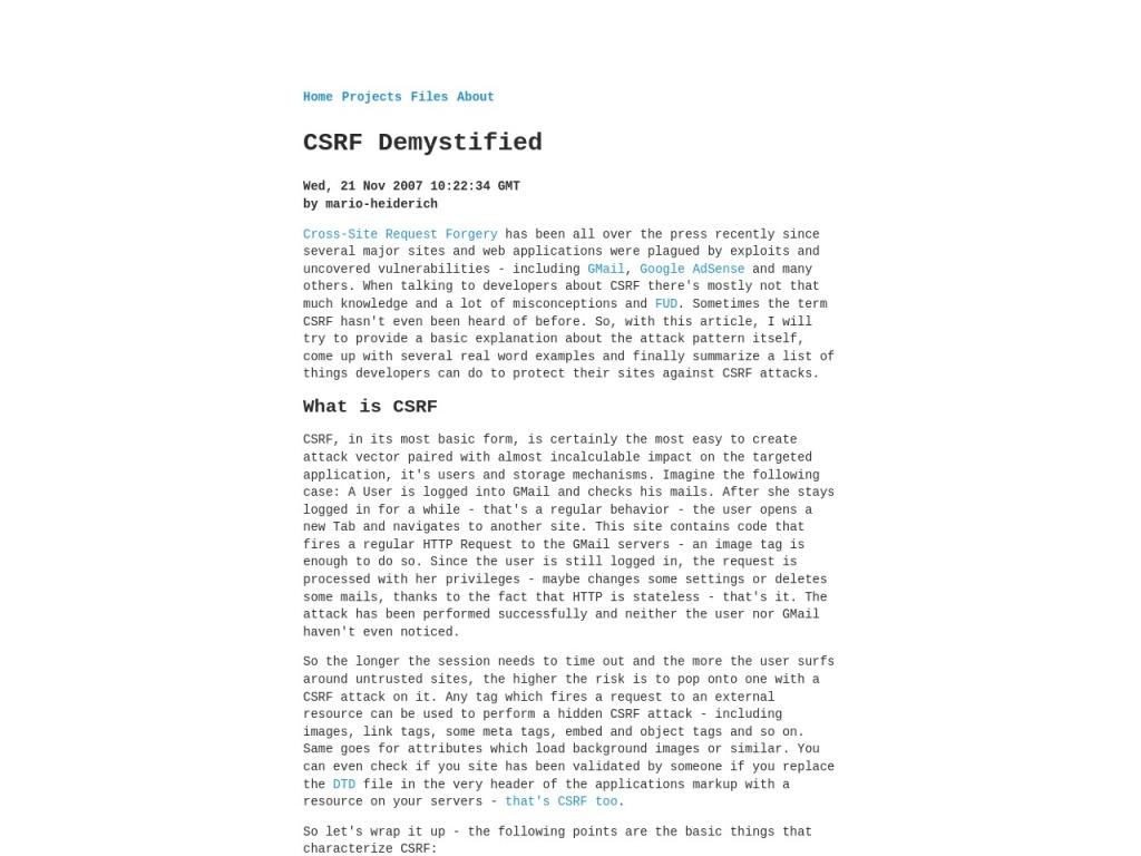 CSRF Demystified