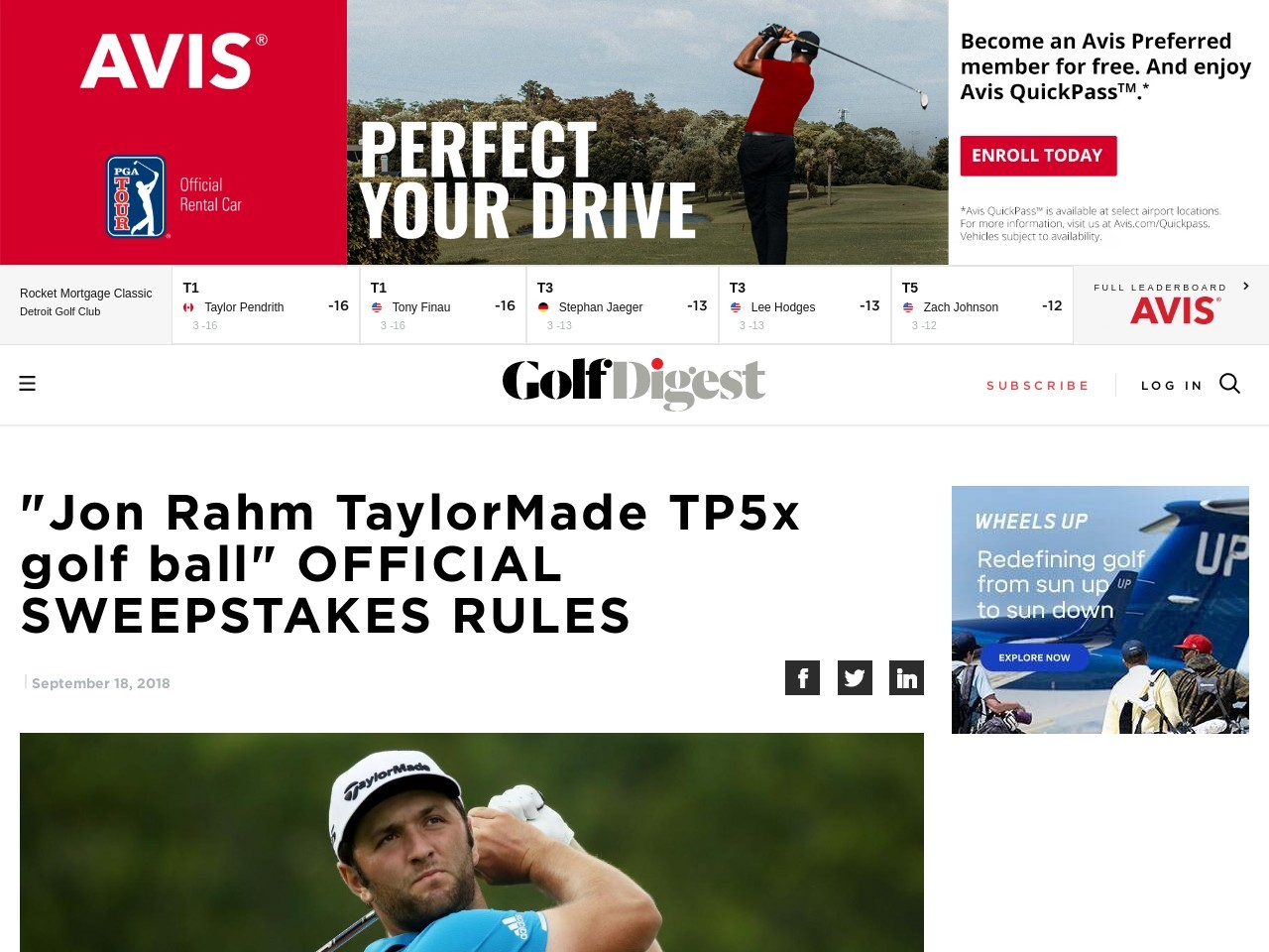 """Jon Rahm TaylorMade TP5x golf ball"" OFFICIAL SWEEPSTAKES RULES – Golf…"
