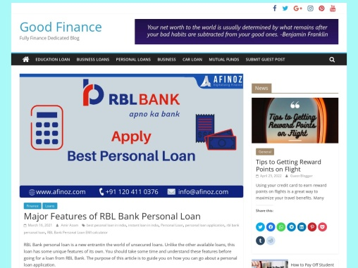 Major Features of RBL Bank Personal Loan