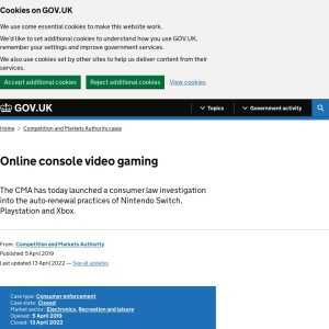 Online console video gaming - GOV.UK