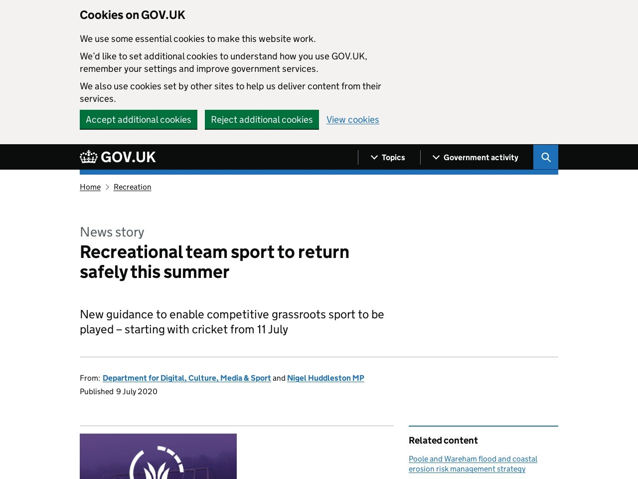 Recreational team sport to return safely this summer