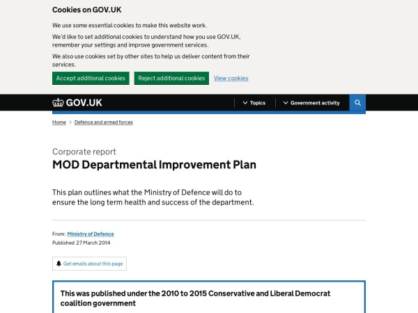 The MoD Improvement Plan