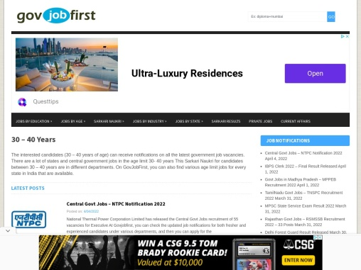 Government Jobs Notifications   Age Limit 30 to 40 Years   Govjobfirst.com