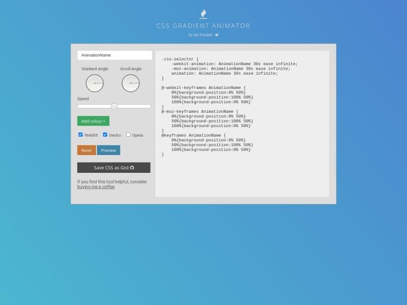CSS Gradient Animator | こういうの欲しかった!CSSグラデーションのアニメーション作成ツール