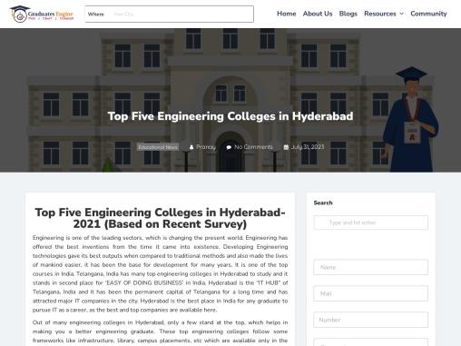 Top five engineering colleges in Hyderabad 2021
