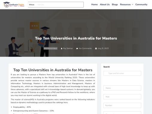 Top Ten Universities in Australia for Masters