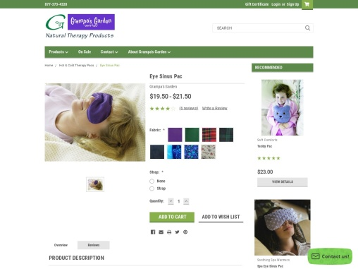 Eye Sinus Pack Hot or Cold Therapy Pack by Grampas Garden