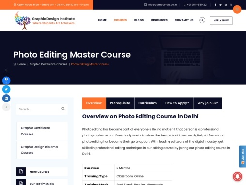 Best Photo Editing Training Institute in Delhi