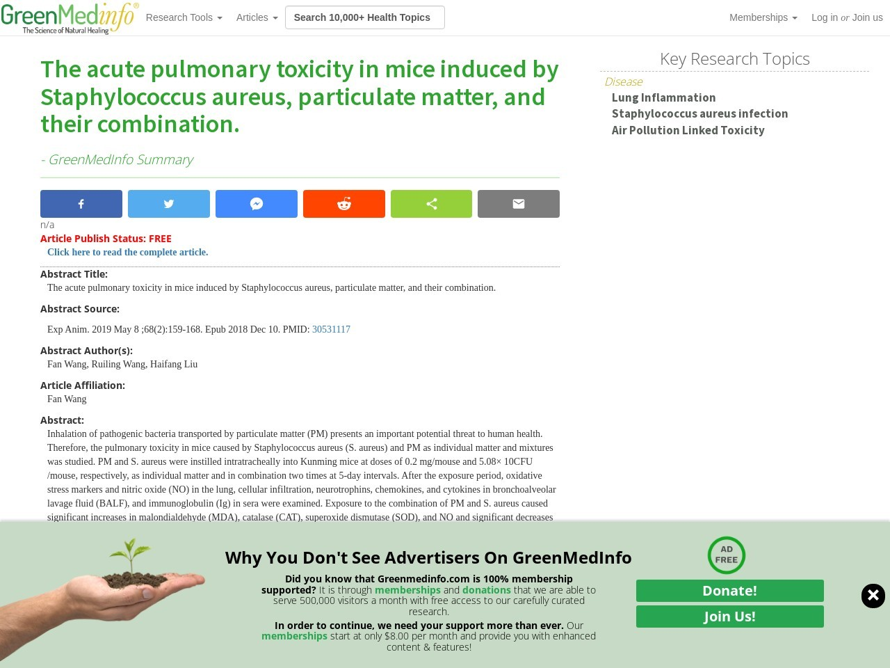 The acute pulmonary toxicity in mice induced by Staphylococcus aureus, particulate matter, and their combination.
