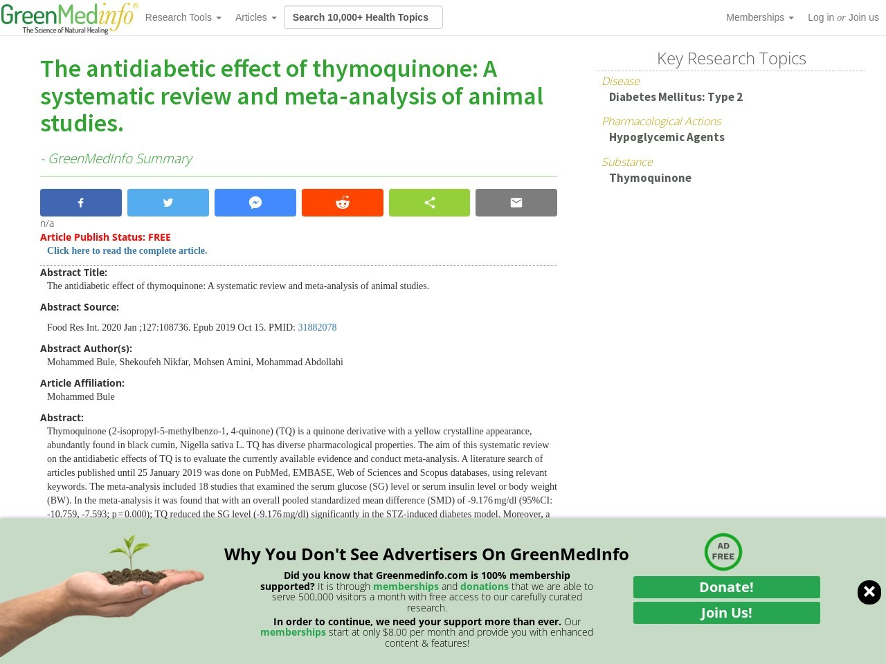 The antidiabetic effect of thymoquinone: A systematic review and meta-analysis of animal studies.