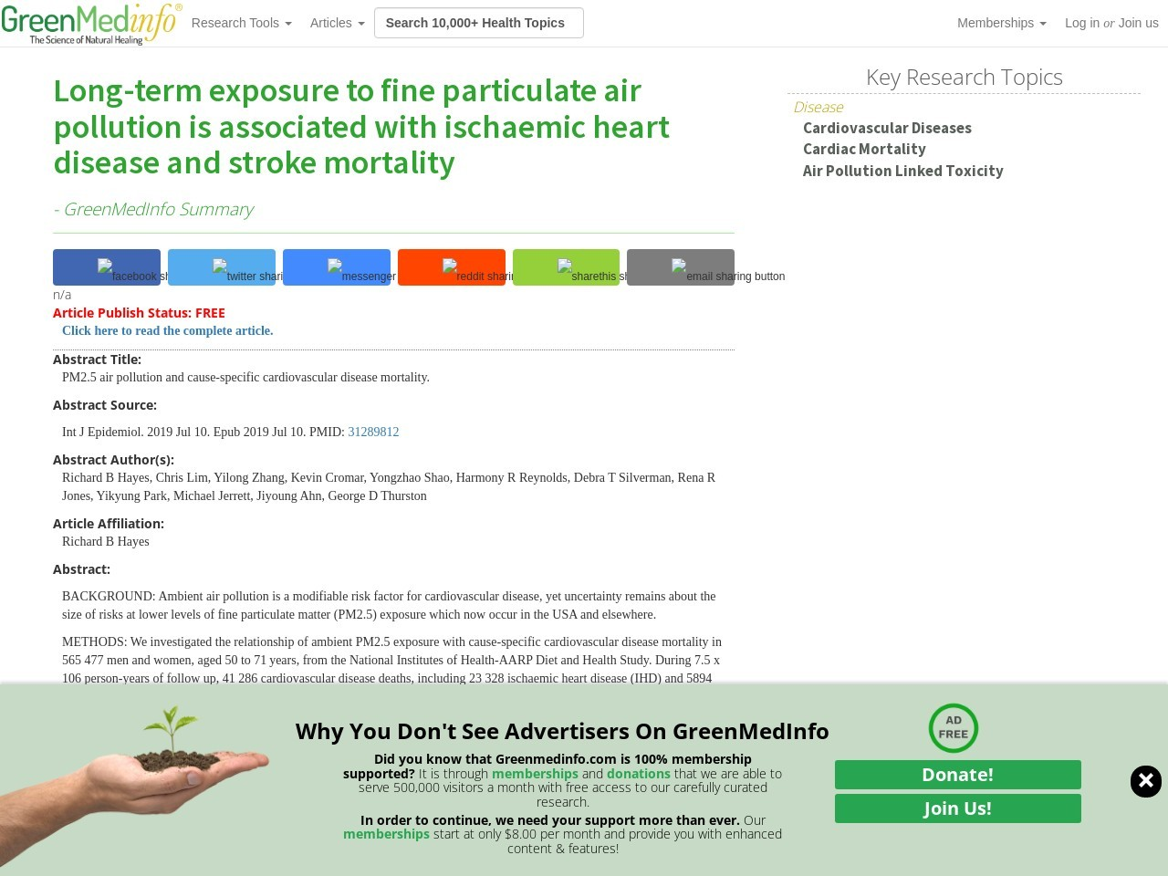 Long-term exposure to fine particulate air pollution is associated with ischaemic heart disease and stroke mortality