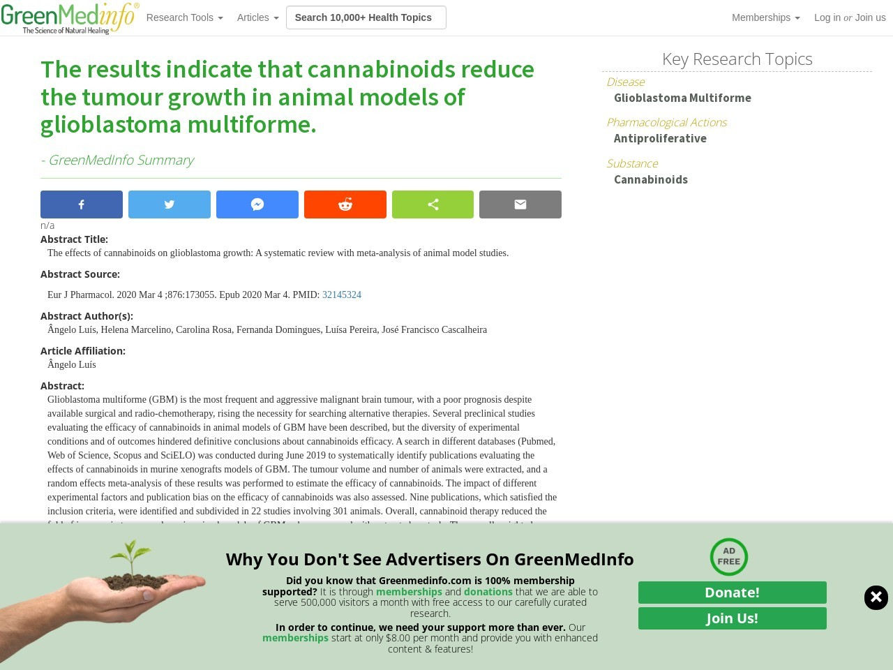 The results indicate that cannabinoids reduce the tumour growth in animal models of glioblastoma multiforme.