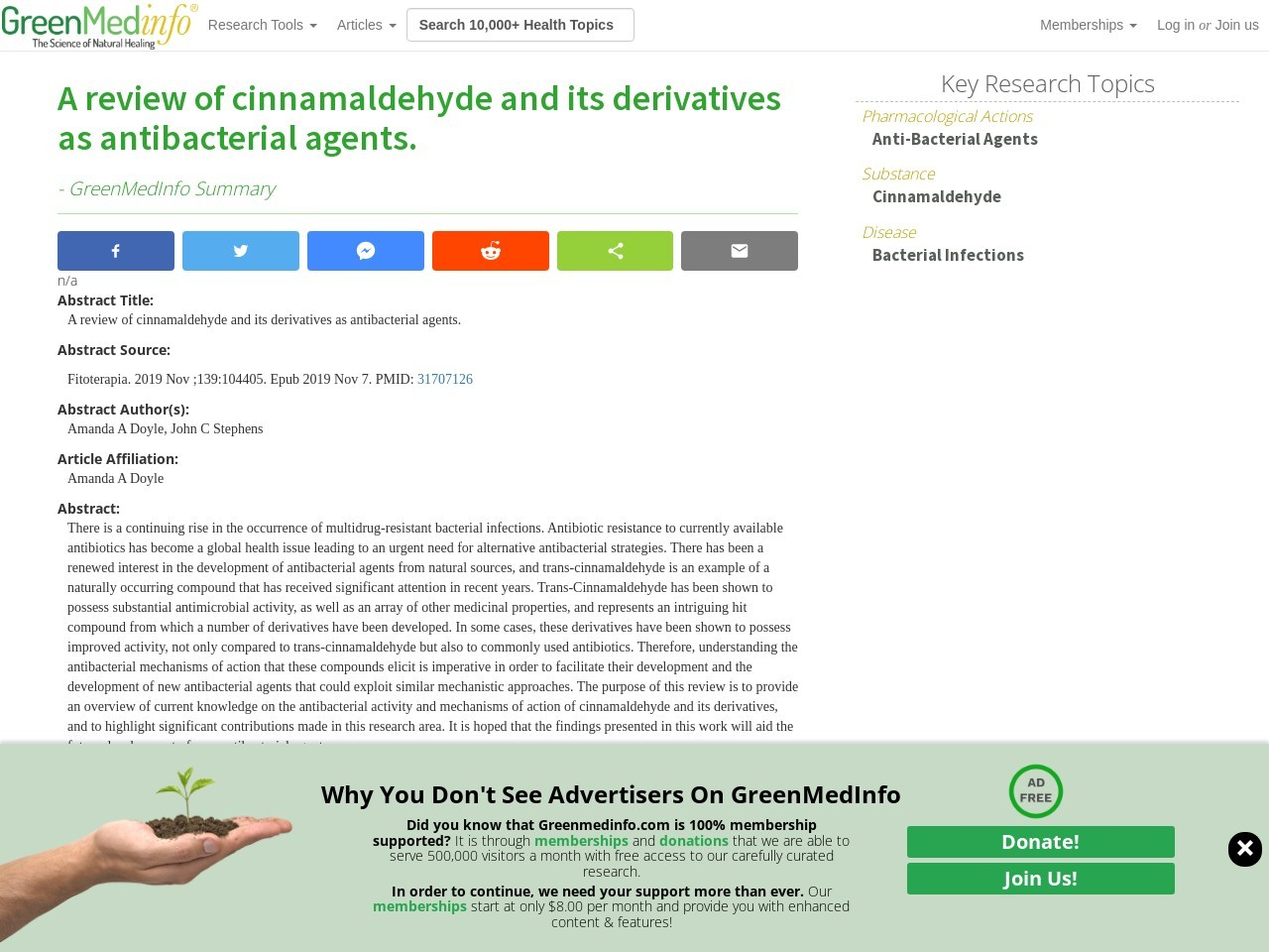 A review of cinnamaldehyde and its derivatives as antibacterial agents.