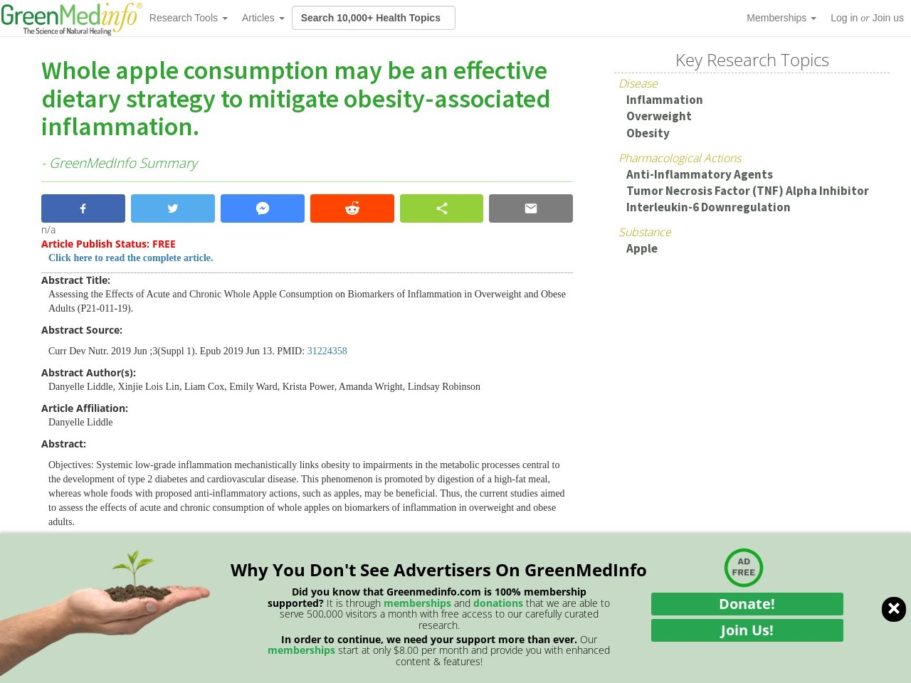 Whole apple consumption may be an effective dietary strategy to mitigate obesity-associated inflammation.