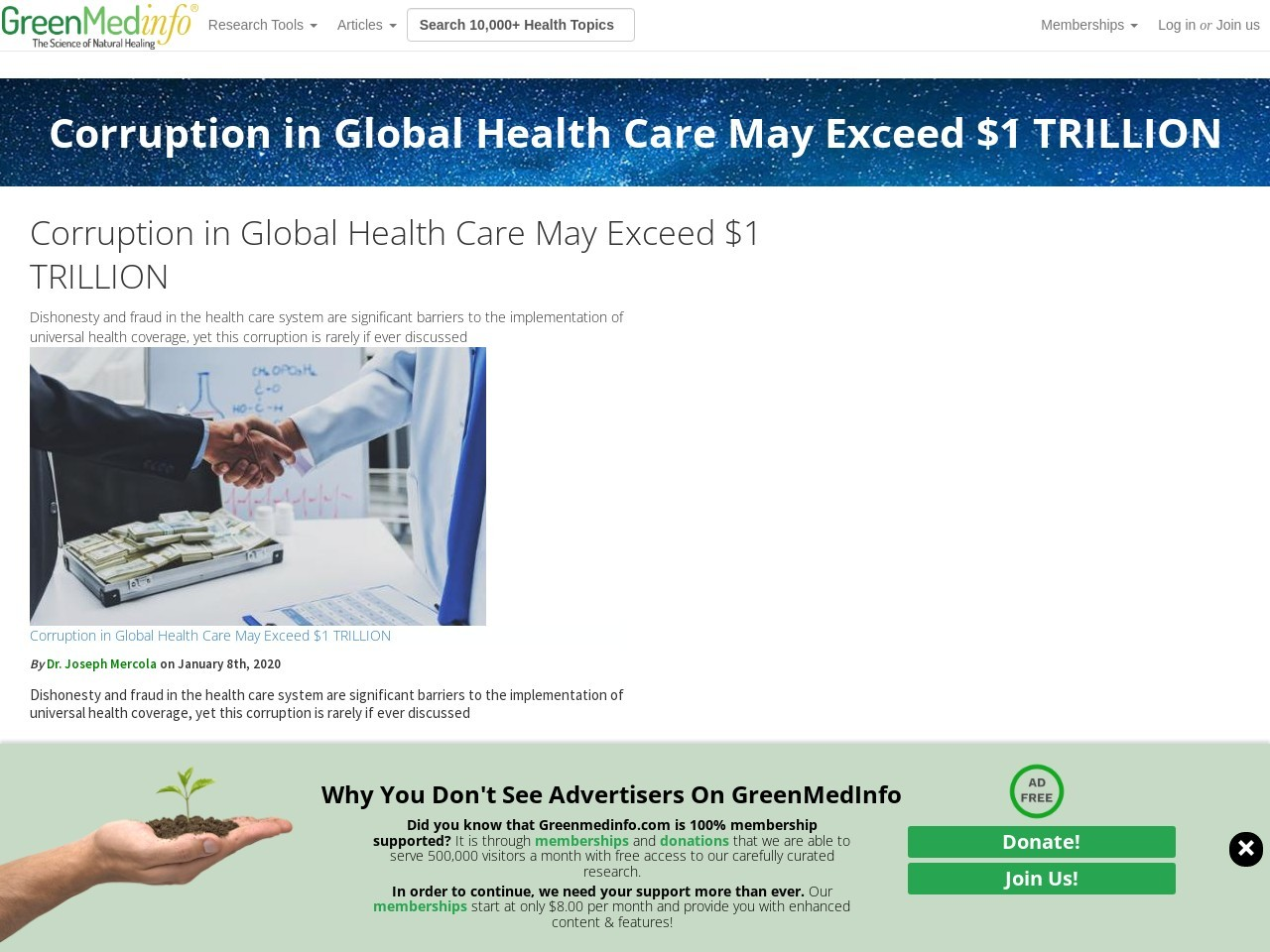 Corruption in Global Health Care May Exceed $1 TRILLION