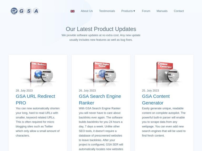 GSA Online screenshot