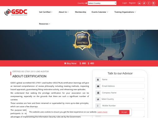GSDC ISO 27001:2013 Lead Auditor Certification