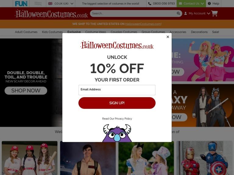 HalloweenCostumes.co.uk Discount Codes screenshot