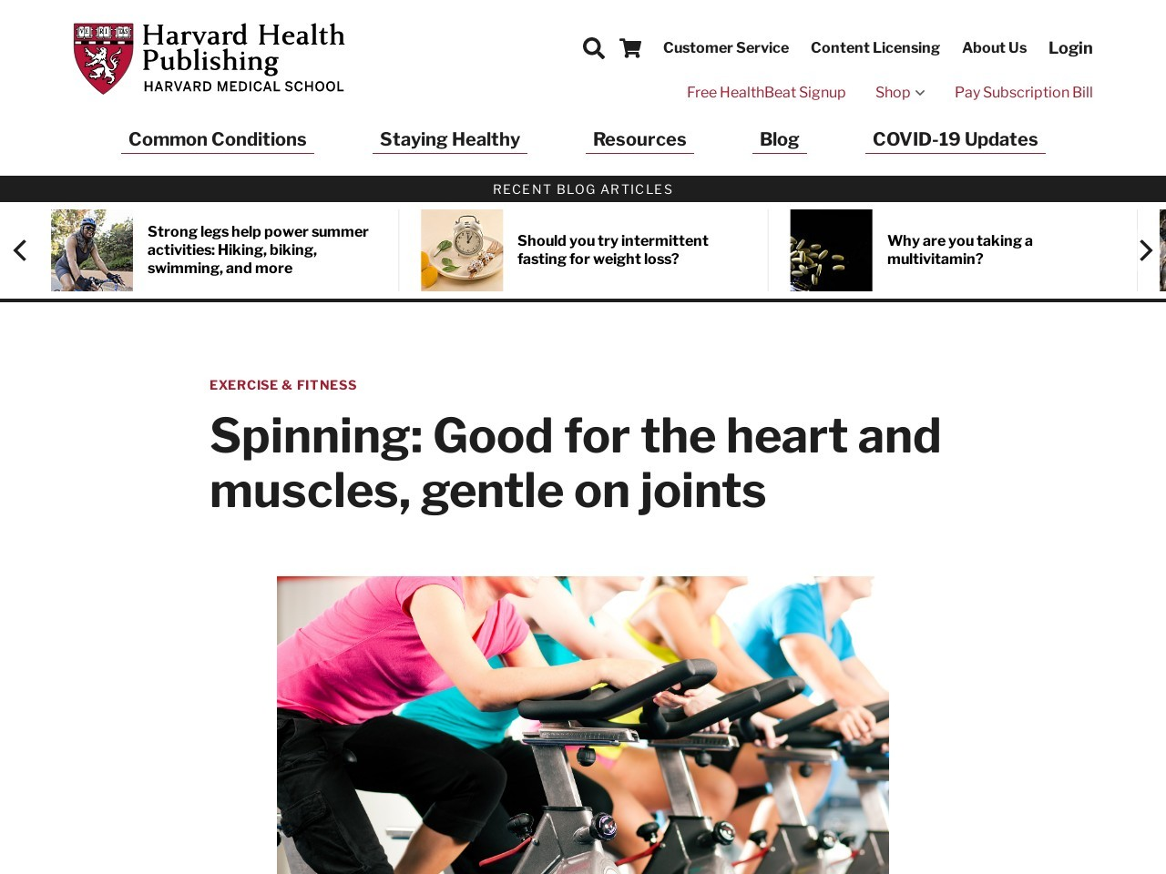 Spinning: Good for the heart and muscle tissue, gentle on joints