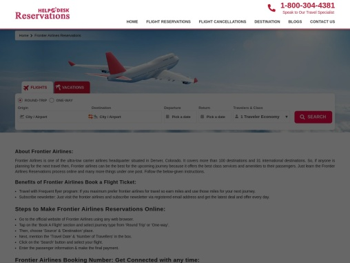 Frontier Airlines Booking | Online Reservations