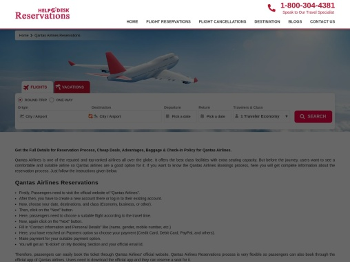 Qantas Airlines Booking | Online Reservations | Number