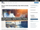 how to write a journal perfectly