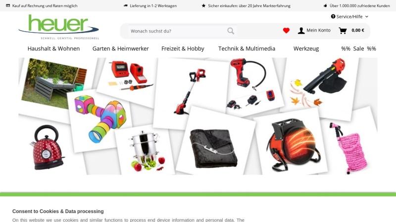 www.heuer-gmbh.com Vorschau, Heuer GmbH Online Shop - Praktische Dinge für Haus und Hobby