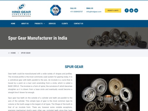 Spur Gear Manufacturers in India- HindGear