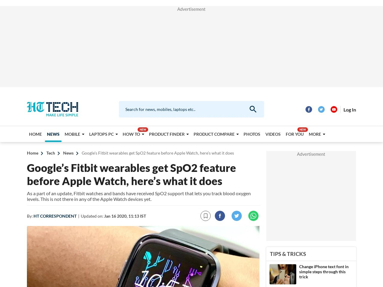 Google's Fitbit wearables get SpO2 feature before Apple Watch, here's what it does