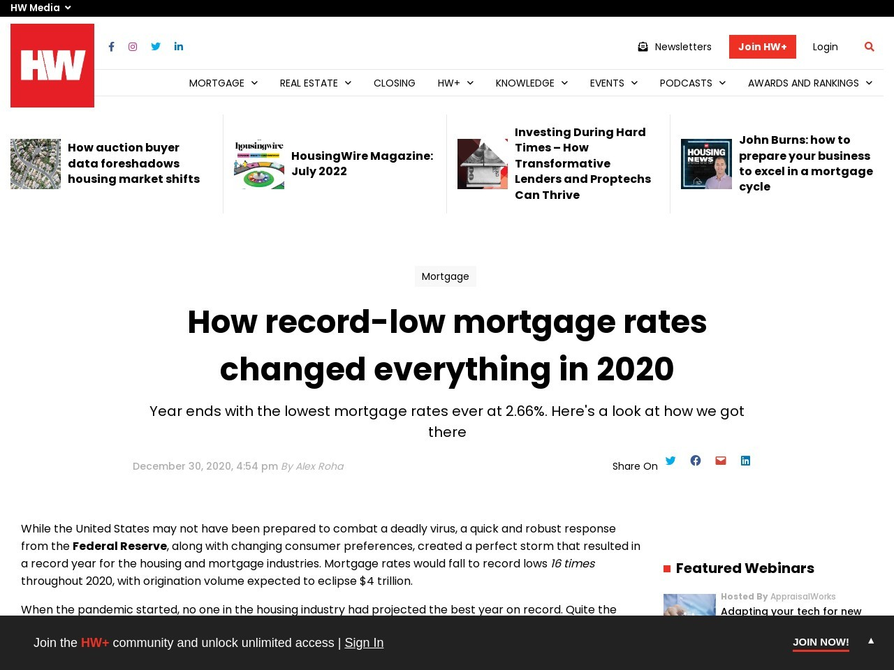 How record-low mortgage rates changed everything in 2020 – HousingWire