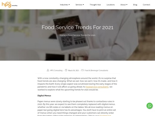 Food Service Trends For 2021, HPG Consulting