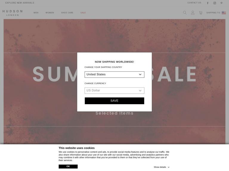 Hudson Shoes discount codes & Referral Code screenshot