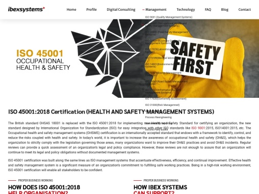 ISO 45001 Certification in Dubai, UAE – Health and Safety | Ibex Systems