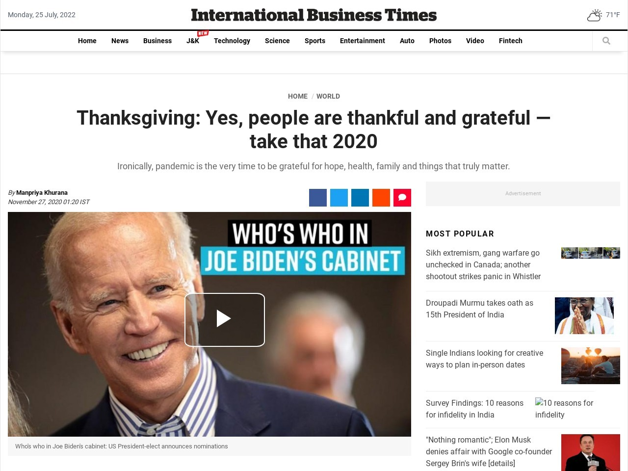 Thanksgiving 2020; vaccine, Facetime family dinners, some things people are grateful for