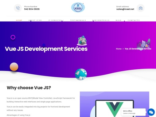 Best Vue.js development company with top notch quality At Iceel IT services.