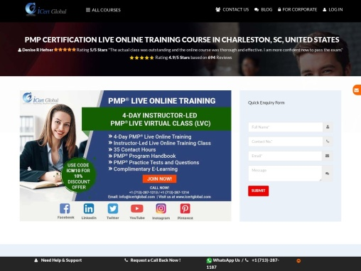 PMP Live Online Training (LVC) Course in Charleston, SC