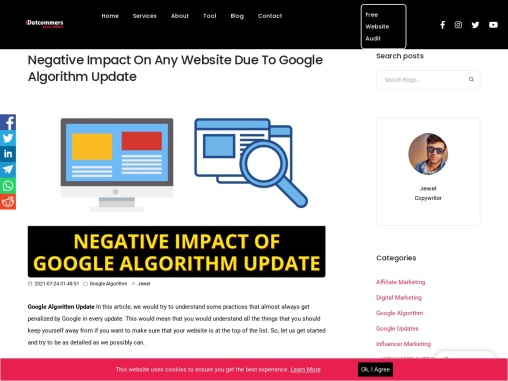Negative Impact On Any Website Due To Google Algorithm Update
