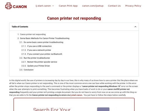 Canon printer not responding – Guide to Fix Canon Printer Not Responding Error