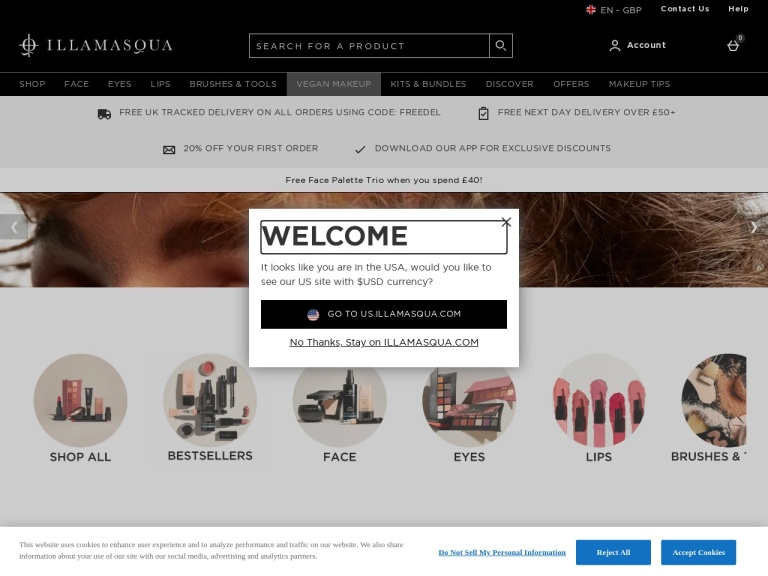 Illamasqua Discount Codes & Referral Code/Link screenshot