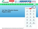 1st Year Physics Guess Papers 2021 Punjab Board PDF Download