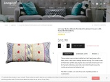 """12""""x24"""" Boho Block Printed Cushion Cover with Hand Embroidery"""