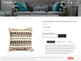 """18""""x18"""" Hand Block Printed Tufted Cushion Cover"""