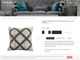 """20""""x20"""" Boho Block Printed Cushion Cover with Tufting"""
