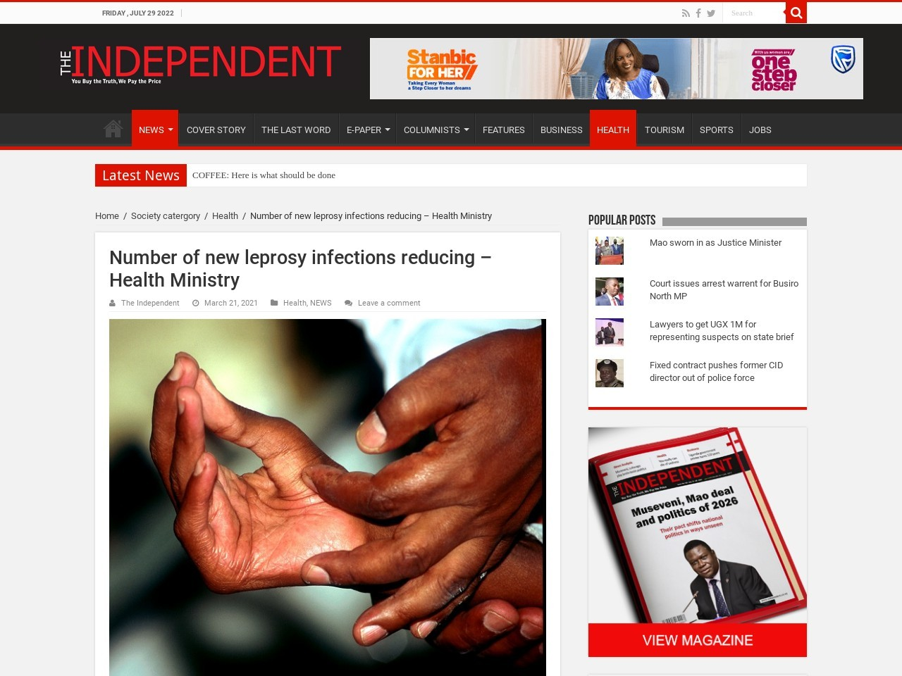 Number of new leprosy infections reducing - Health Ministry