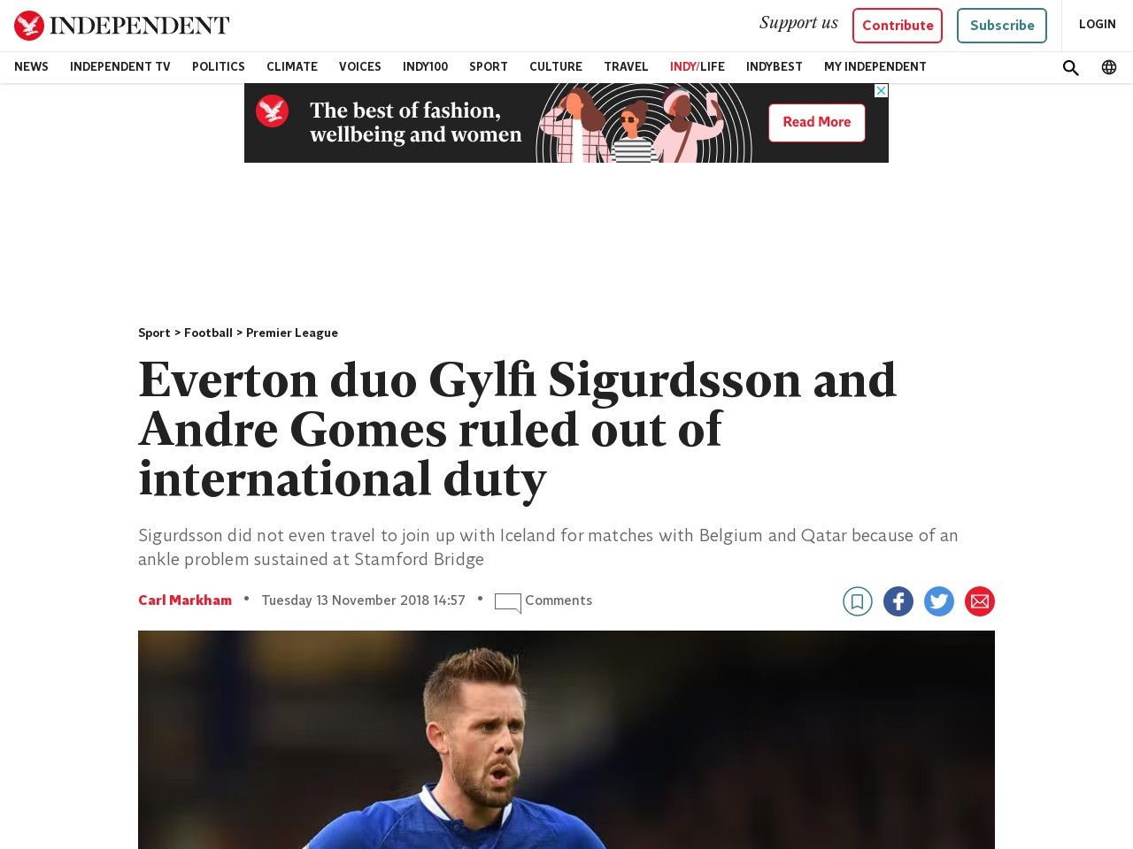 Everton duo Gylfi Sigurdsson and Andre Gomes ruled out of…